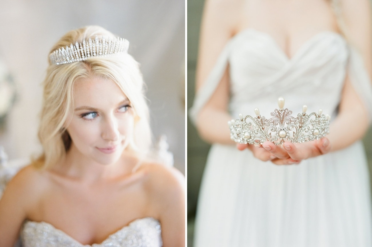 Fairytale bridal crowns tiaras from eden luxe bridal by southbound b fringe crystal tiara left alexandra full bridal crown with pearls right junglespirit Choice Image