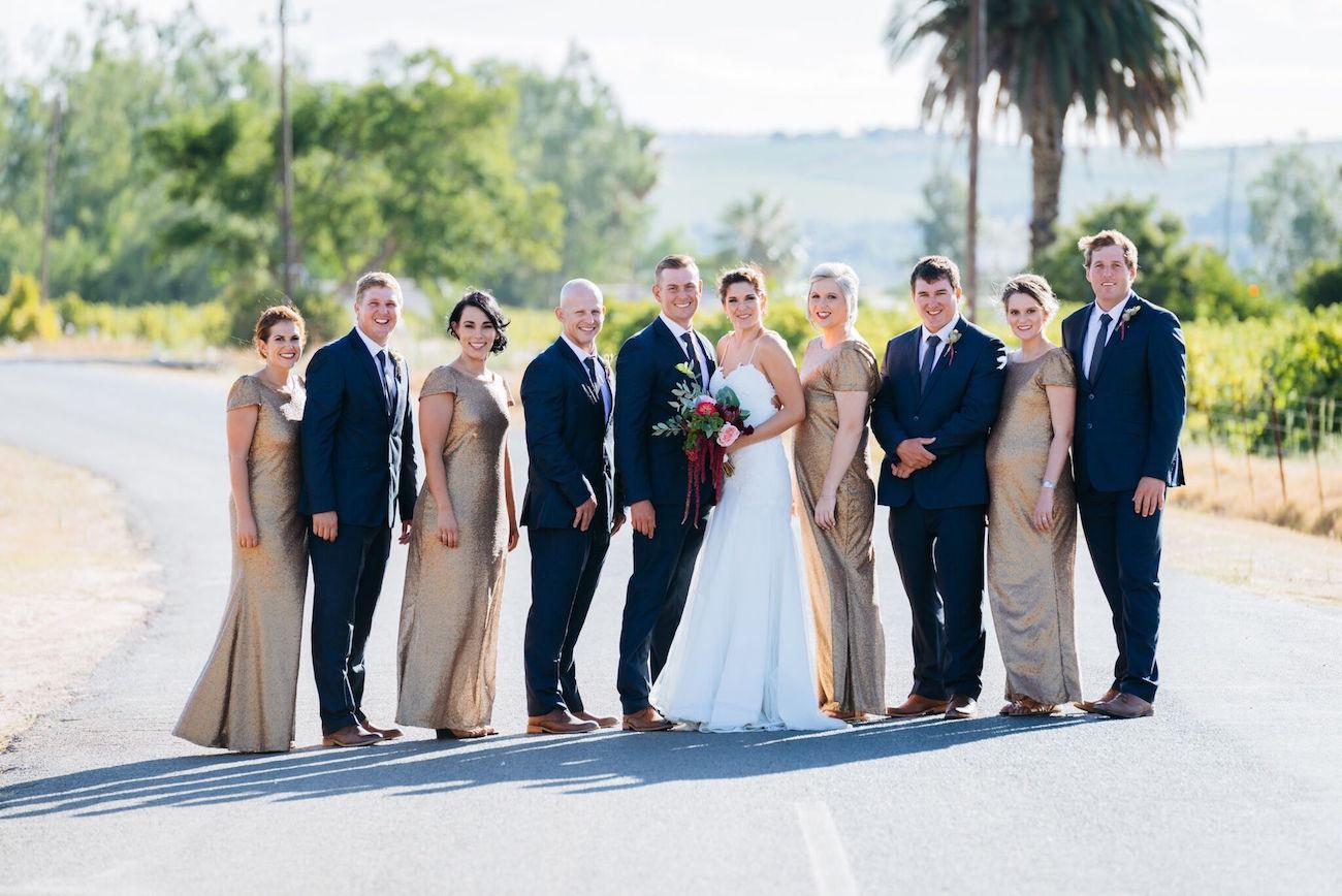 Glamorous farm wedding party | Credit: Matthew Carr