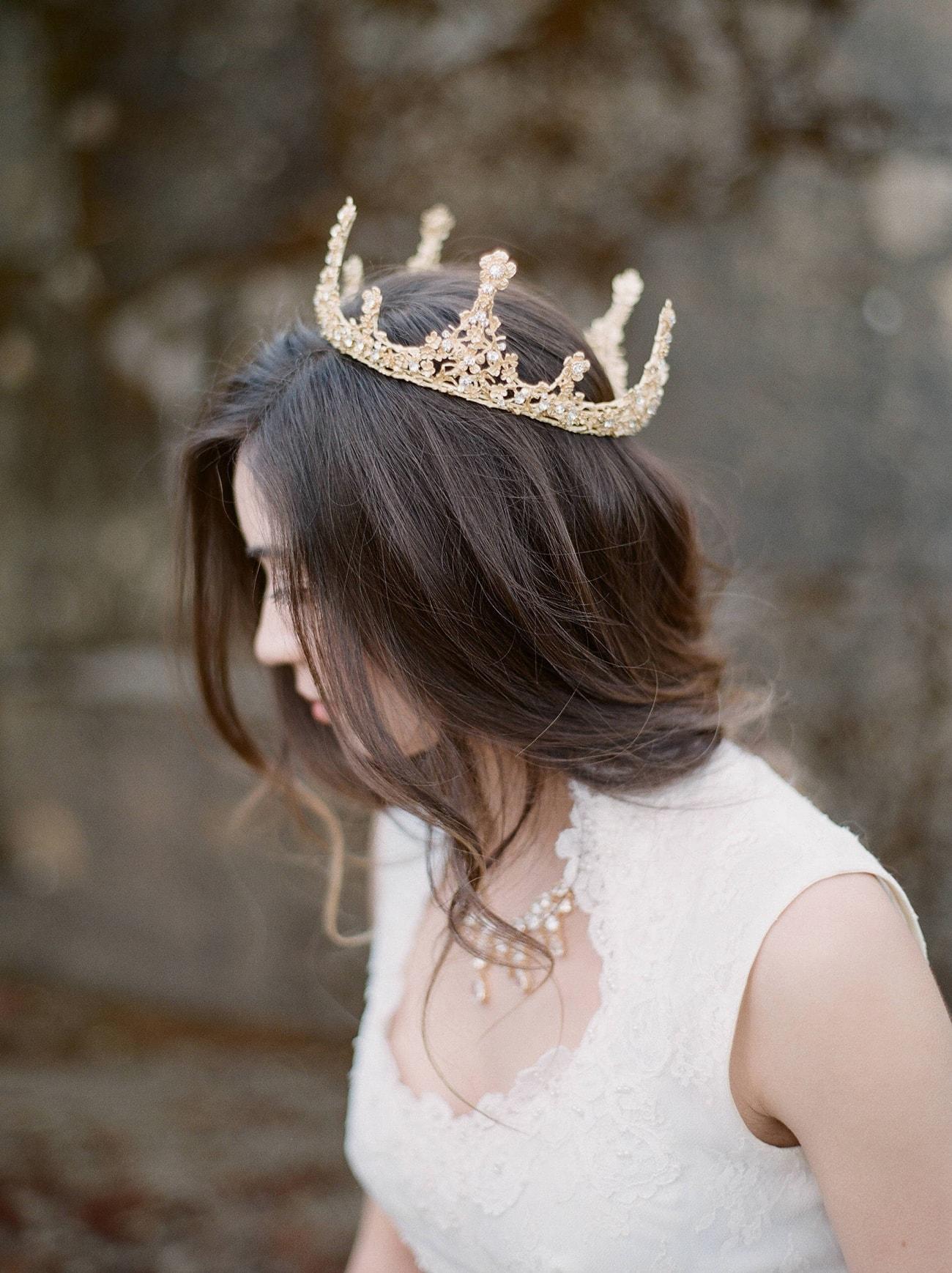 Fairytale bridal crowns tiaras from eden luxe bridal southbound alexa bronze wedding crown left chantal swarovski bridal tiara right junglespirit Images