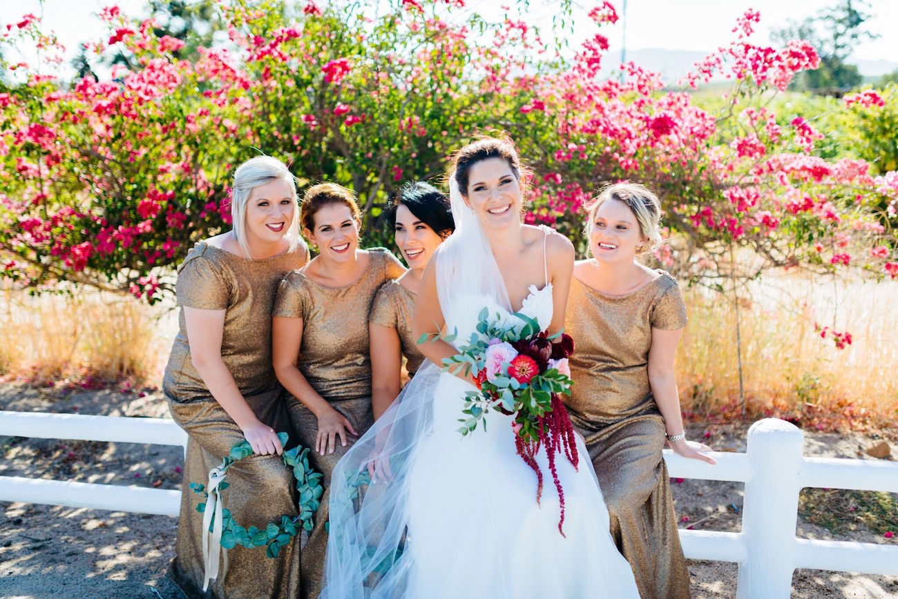 Long gold sequin bridesmaid dresses | Credit: Matthew Carr