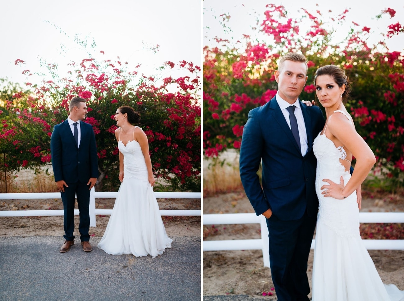 Bride and groom with bougainvillea | Credit: Matthew Carr
