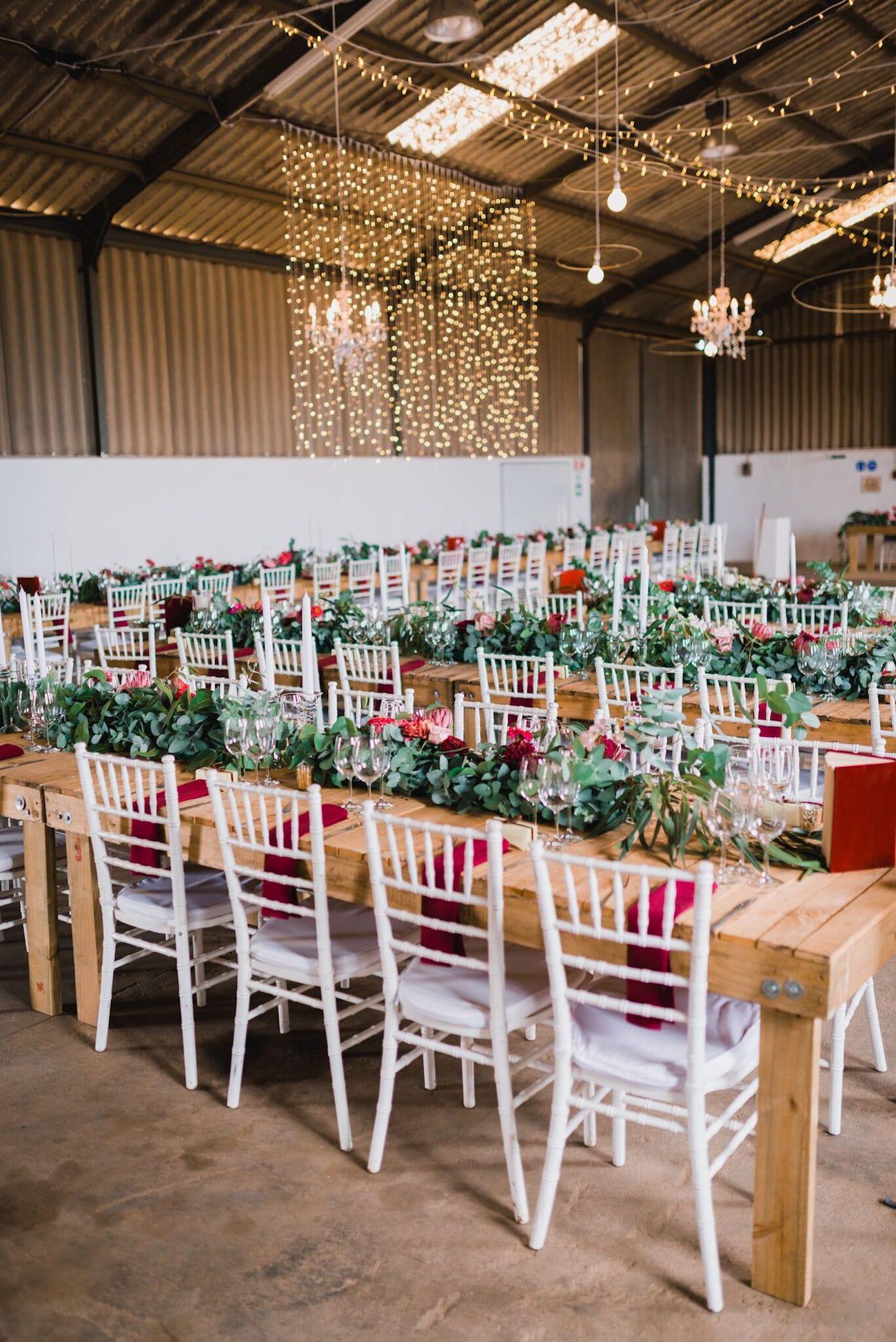Glitzy Rustic Farm Wedding Decor | Credit: Matthew Carr
