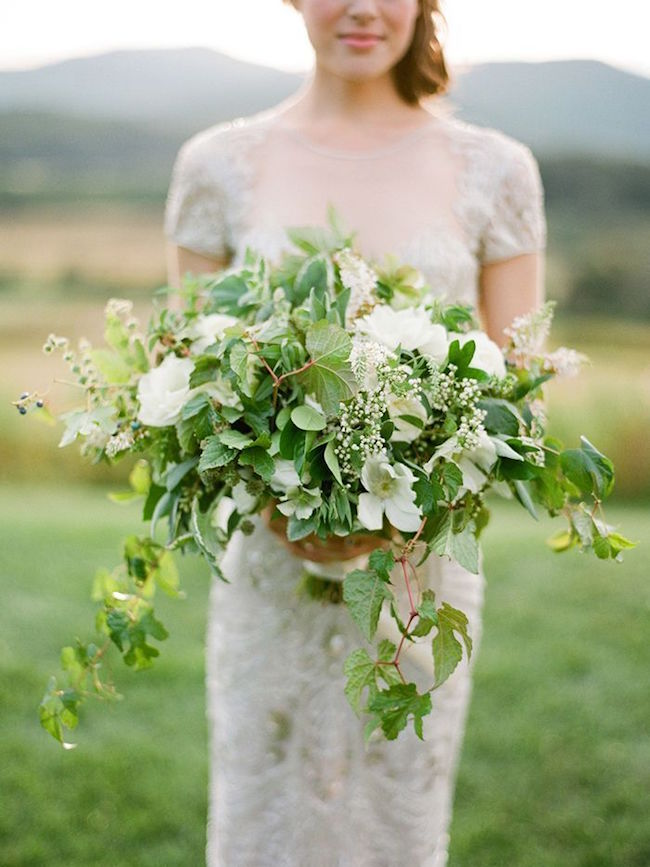 White Bouquet Wedding With Greenery