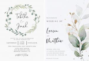 printable greenery wedding invitation
