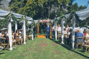 Wedding Aisle wit Ribbons & Trellises | Credit: Shanna Jones