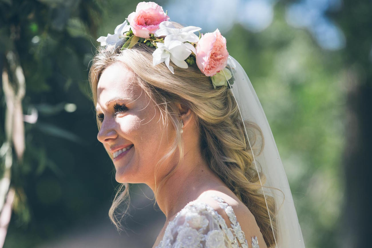 Floral Crown Bridal Wedding Hair Idea | Credit: Shanna Jones