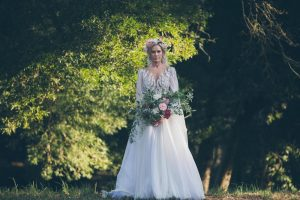 Zuhair Murad illusion lace wedding dress with sleeves | Credit: Shanna Jones