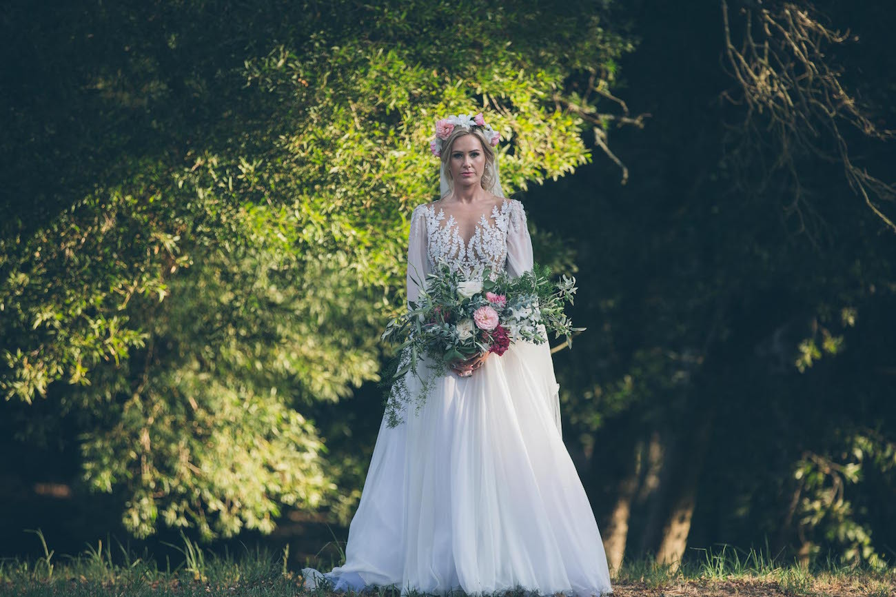 Zuhair Murad illusion lace wedding dress with sleeves | Credit: Shanna Jones