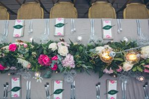 Table decor with leaf place cards | Credit: Shanna Jones