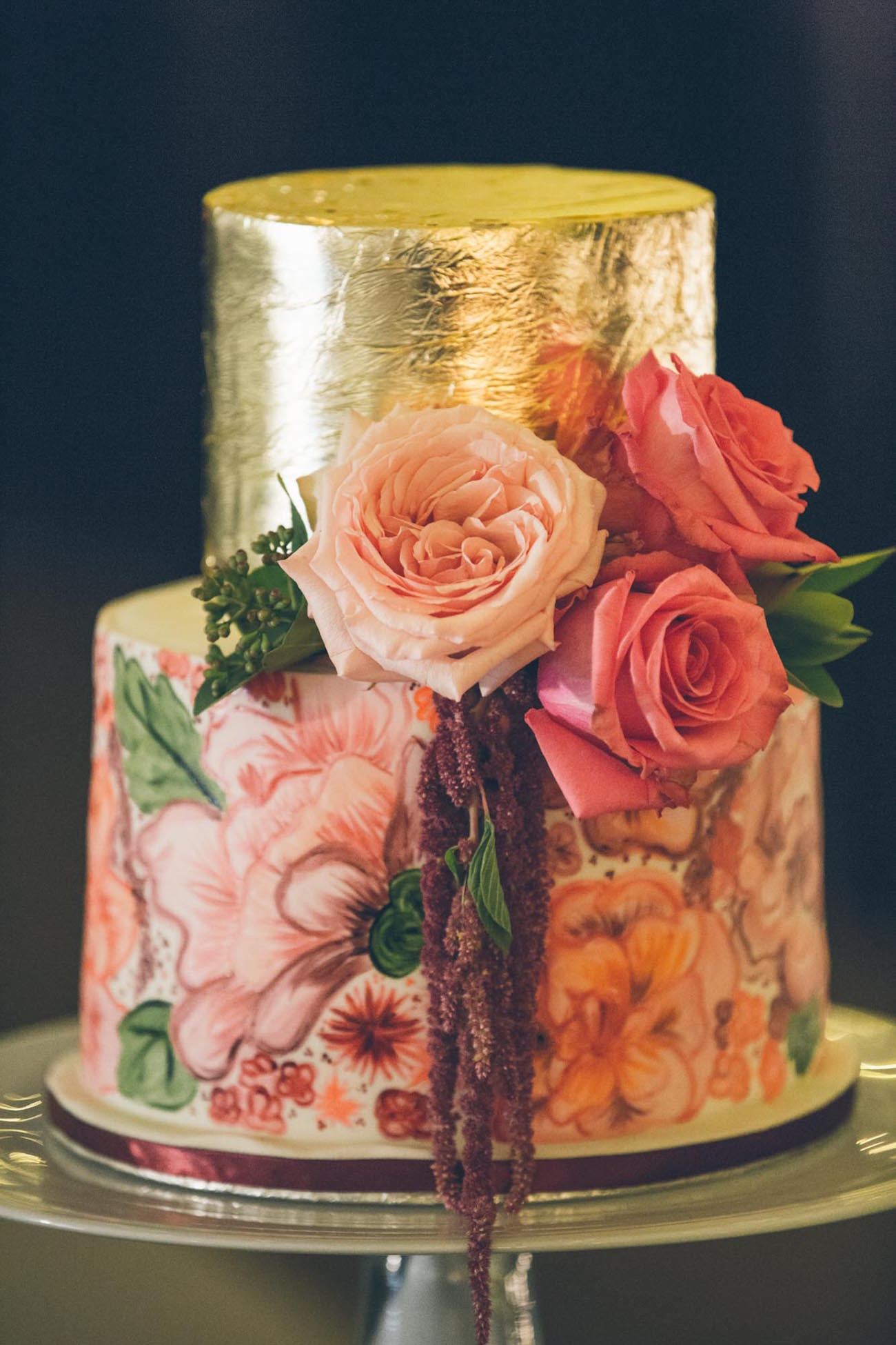 Floral print & gold metallic wedding cake | Credit: Shanna Jones