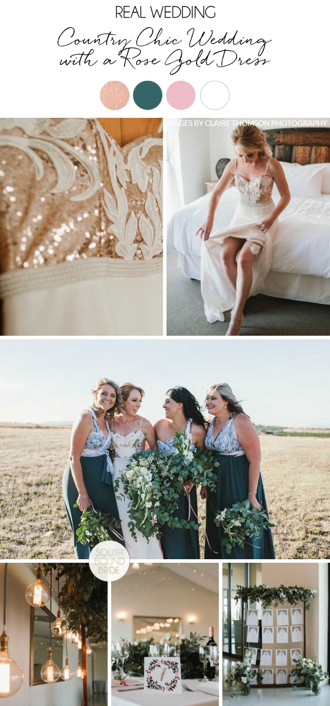 Country Chic Wedding with a Rose Gold Dress by Claire Thomson | SouthBound Bride