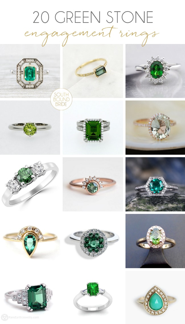 20 Green Engagement Rings from Etsy | SouthBound Bride