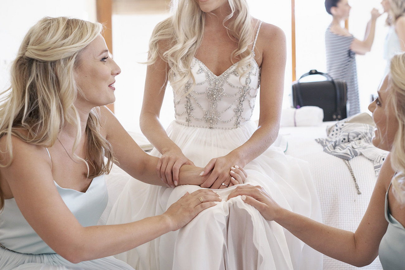 Heartfelt Moment with Bride and Bridesmaids   Image: Knit Together Photography
