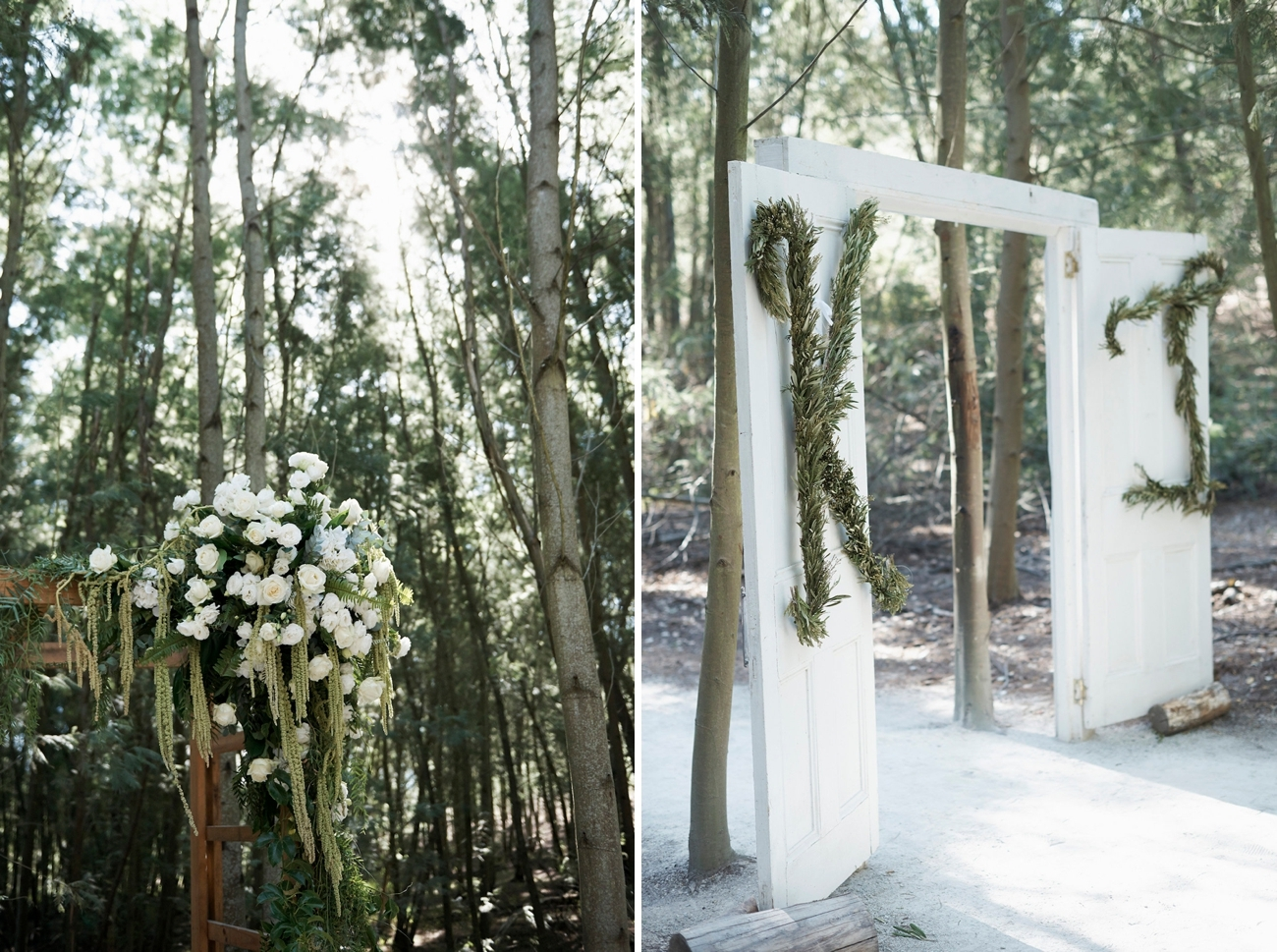 Outdoor Chapel Doors with Greenery Monogram | Image: Knit Together Photography