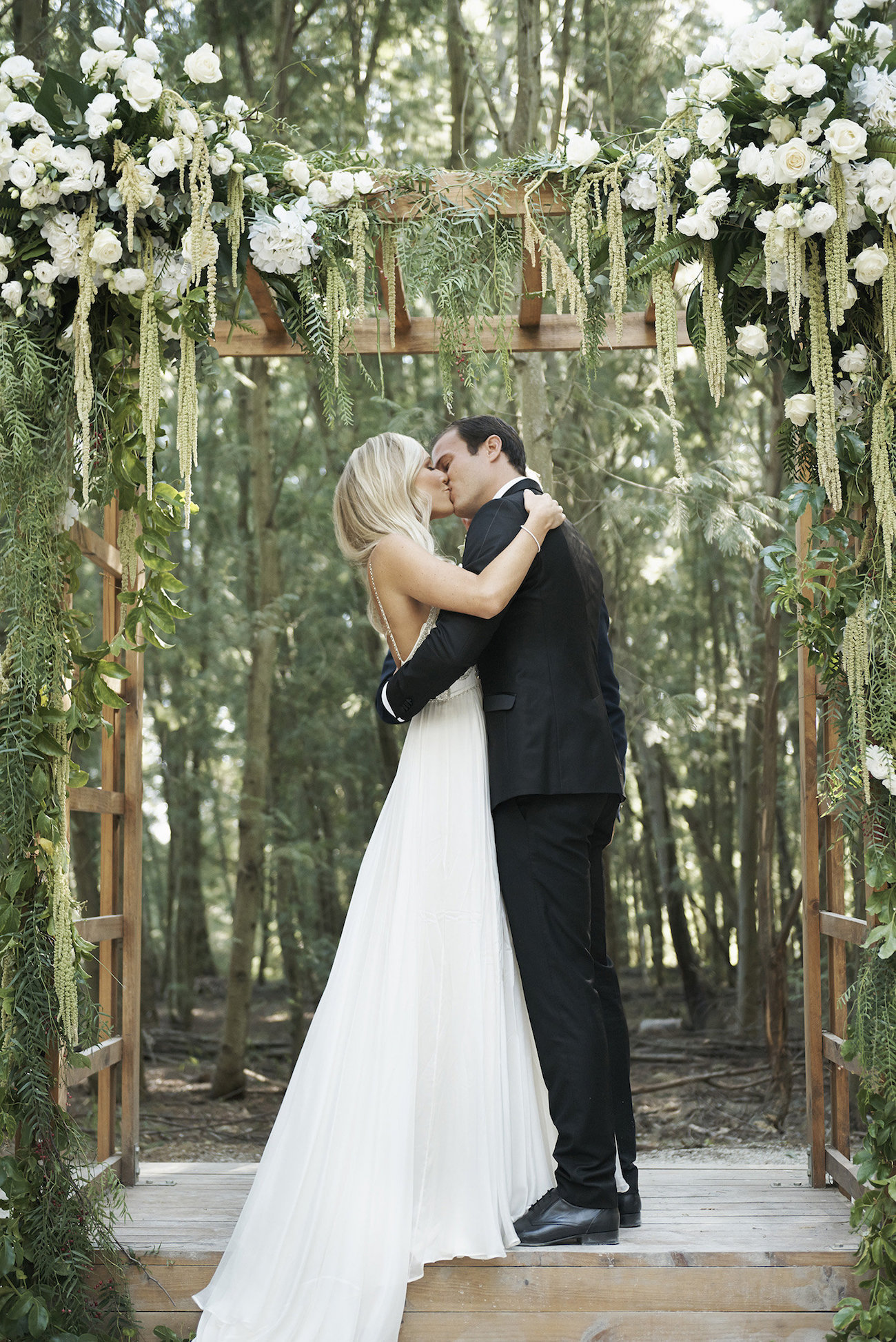 Forest Wedding Ceremony Floral Arch | Image: Knit Together Photography