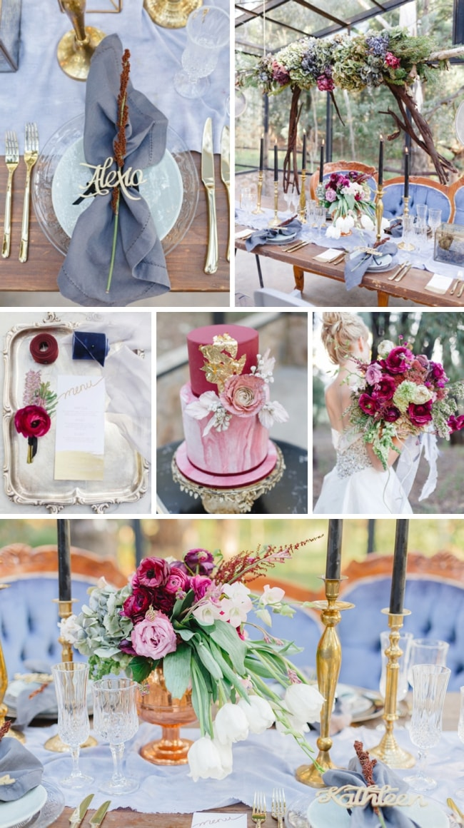 Plum Amp Periwinkle Blue Winter Wedding Inspiration