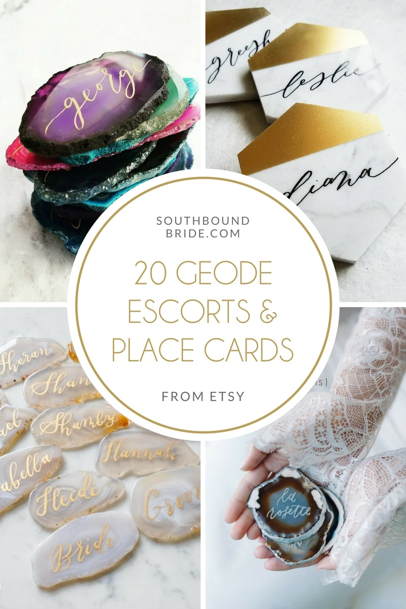 20 Geode & Marble Escorts & Place Cards from Etsy | SouthBound Bride
