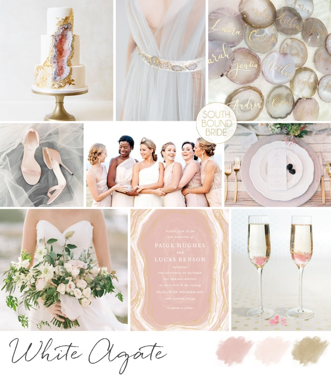 White Agate Geology Wedding Inspiration Board | SouthBound Bride