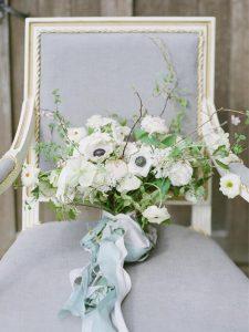 fine art wedding bouquet silk ribbon