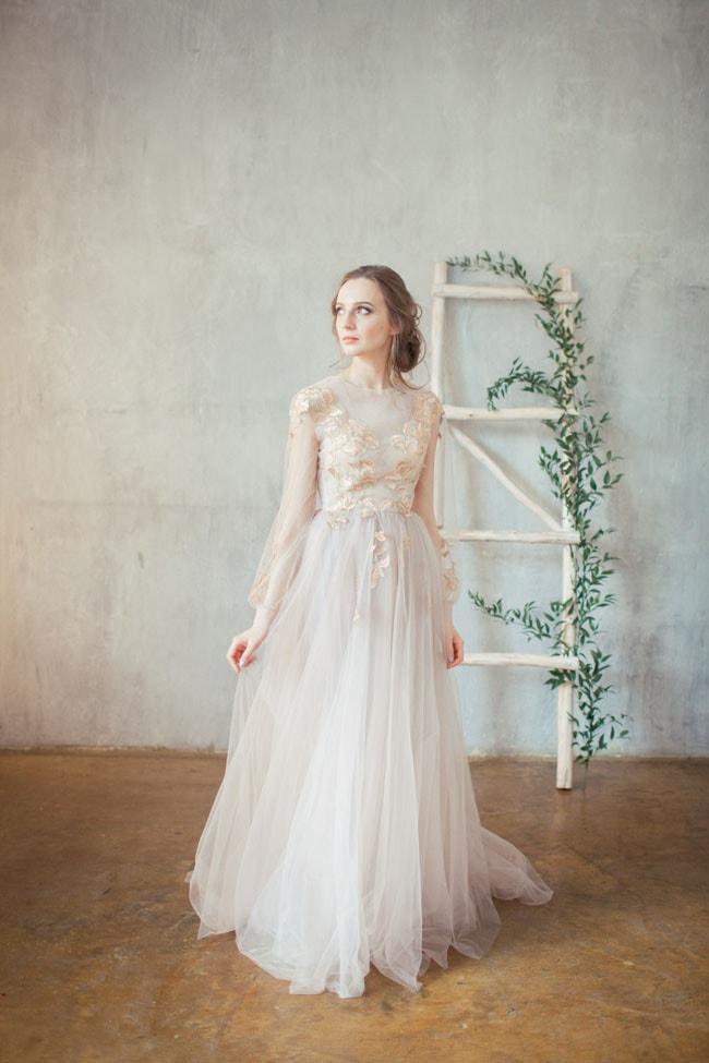b17ceaa490 Doren Golden Embroidered Blush Wedding Dress by Alex Veil Bridal