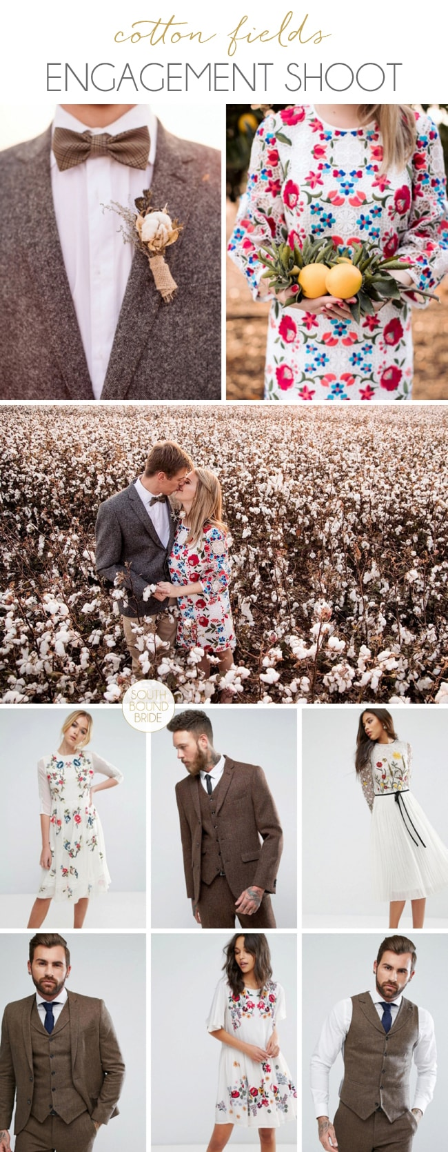 Cotton Fields Engagement Shoot: Shop the Look | SouthBound Bride