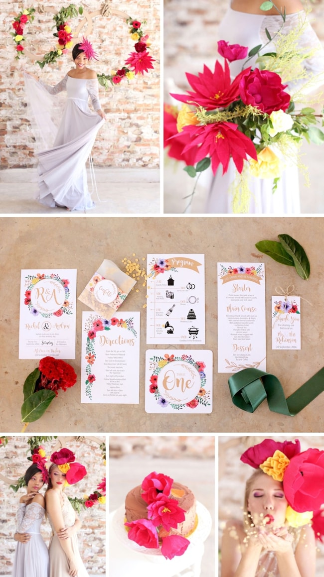 Colorful Paper Flower Wedding Inspiration by Hello Love Photography | SouthBound Bride