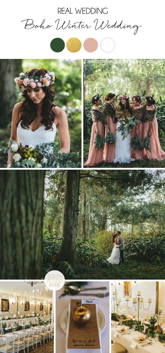 Boho Winter Wedding at Cranford Country Lodge by Andy & Szerdi Photography | SouthBound Bride