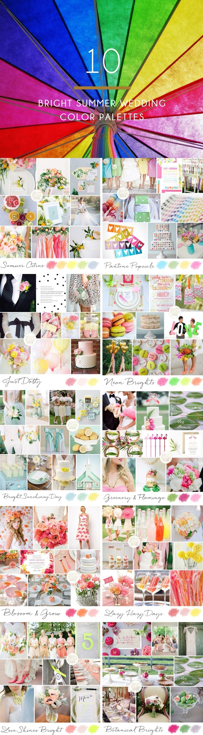 10 Bright Summer Wedding Color Palettes | SouthBound Bride