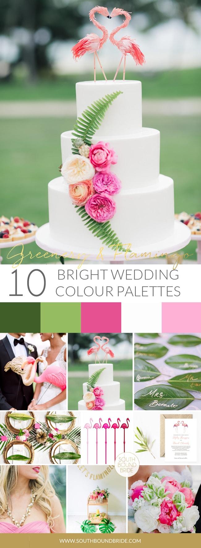 Pantone Greenery Inspiration Board: Greenery & Flamingo   SouthBound Bride