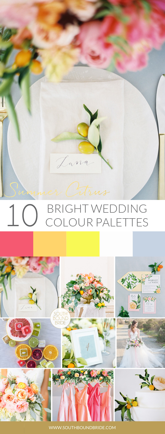 Summer Citrus Colorful Wedding Palette | SouthBound Bride