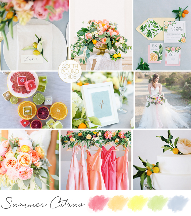 Summer Citrus Wedding Inspiration Board | SouthBound Bride