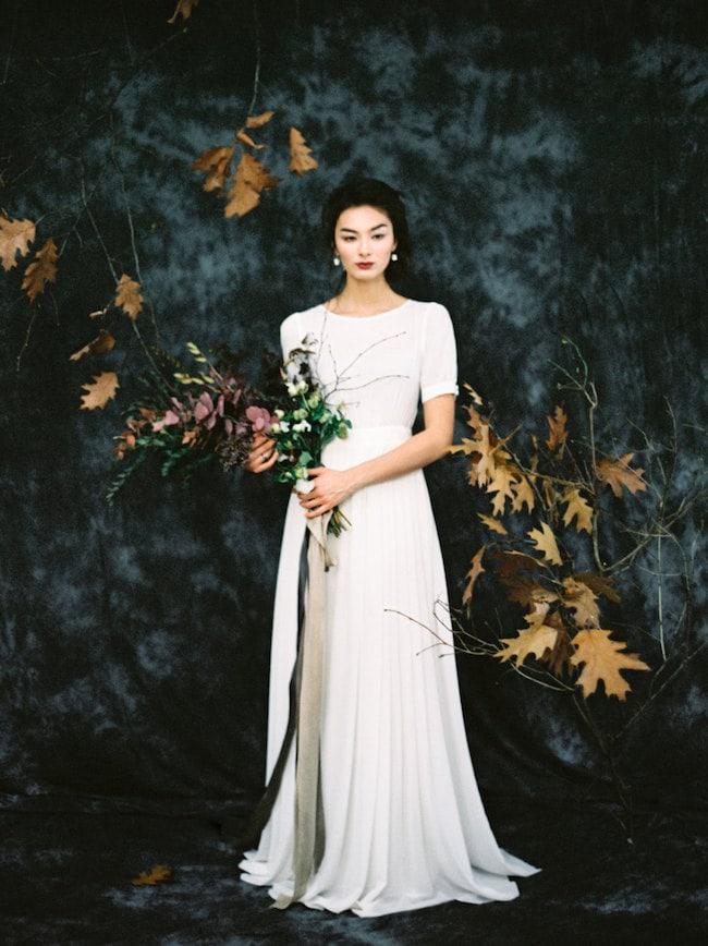 Minimalist Wedding Dress with Cap Sleeves