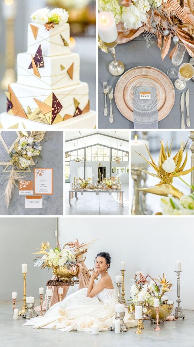 Lavish Modern Mixed Metallics Wedding Inspiration by Claire Nicola & Lavishly Done   SouthBound Bride