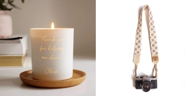 personalised candle + camera strap