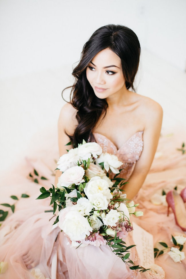 Blush Wedding Dress | Credit: Peaches With Honey