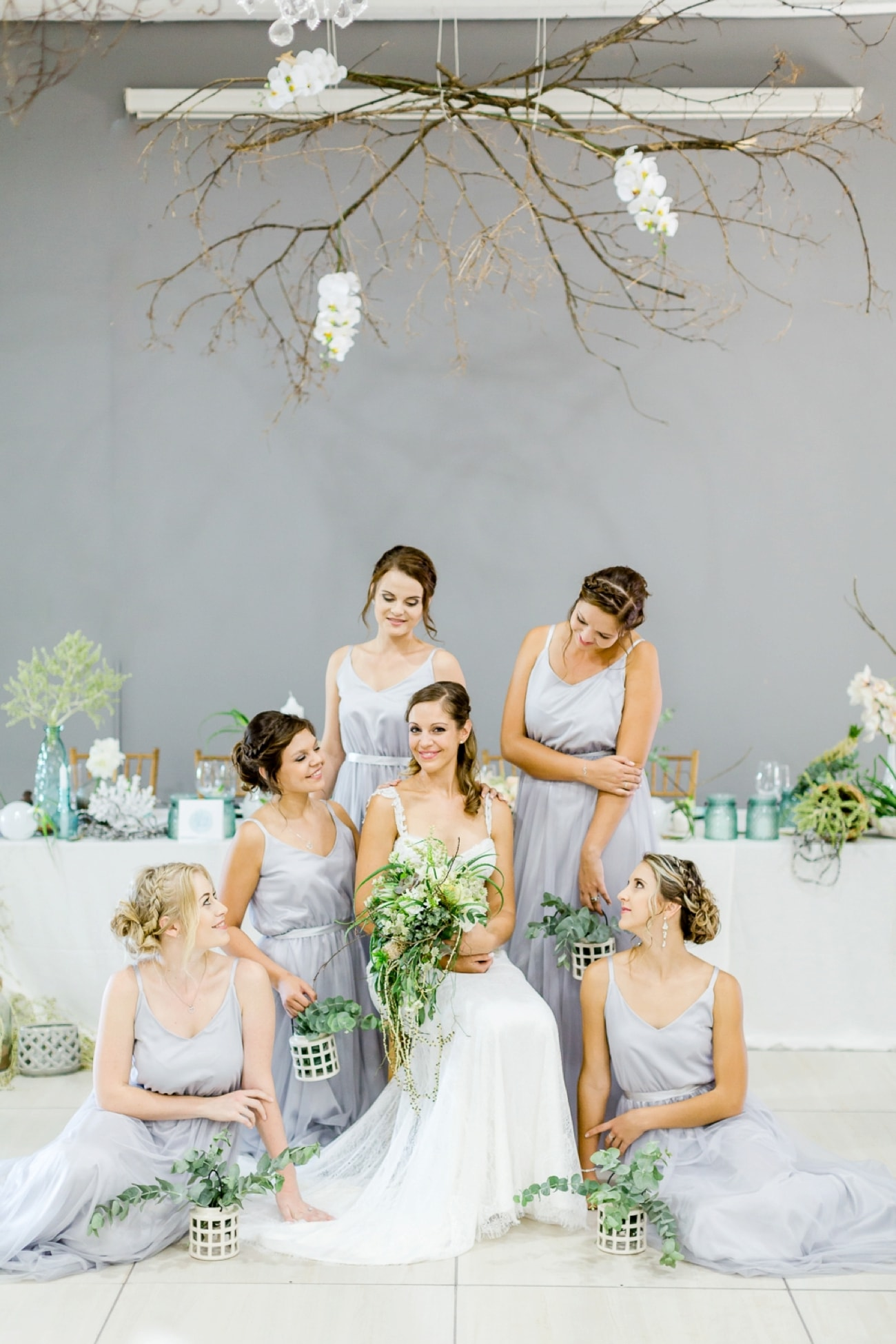 Bridesmaids in Grey Dresses | Credit: Grace Studios / Absolute Perfection