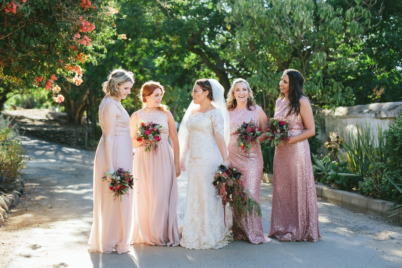 Mismatched Pink Bridesmaid Dresses | Credit: Vivid Blue
