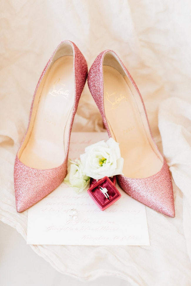 Pink Sparkle Wedding Shoes | Credit: Peaches With Honey