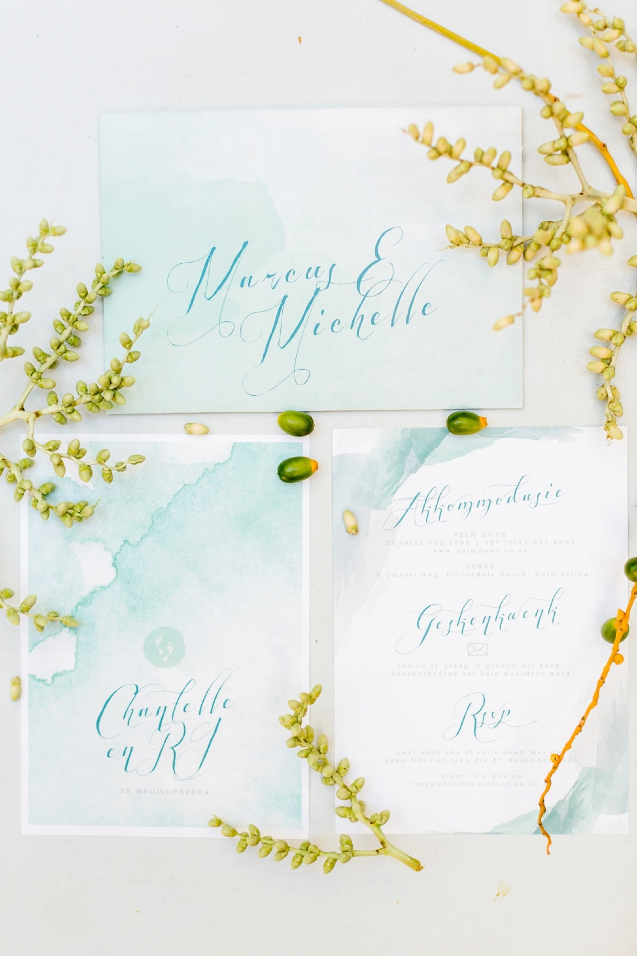 Mint Watercolor Beach Wedding Invitation | Credit: Grace Studios / Absolute Perfection