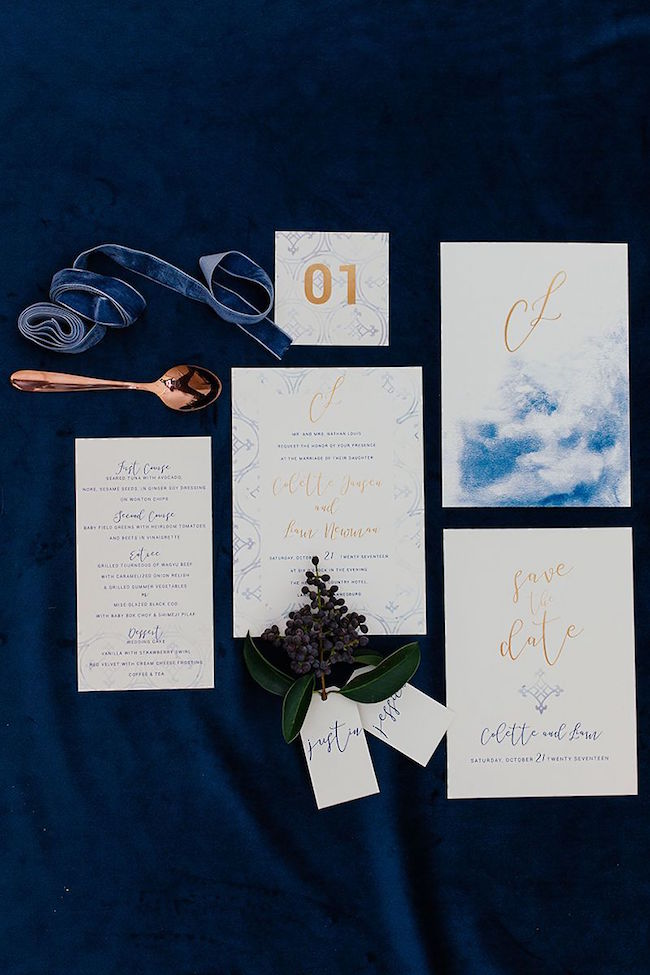 Watercolor Winter Wedding Invitation Suite | Credit: Werner J Photography