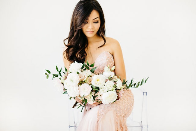 Blush and White Bouquet | Credit: Peaches With Honey