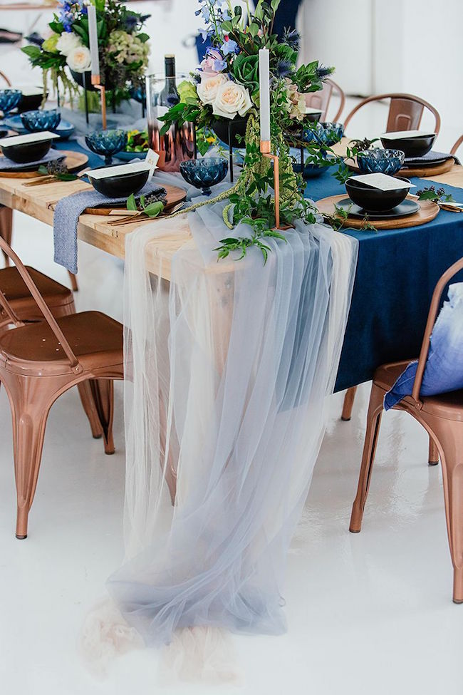 Blue and Copper Wedding Table Decor | Credit: Werner J Photography