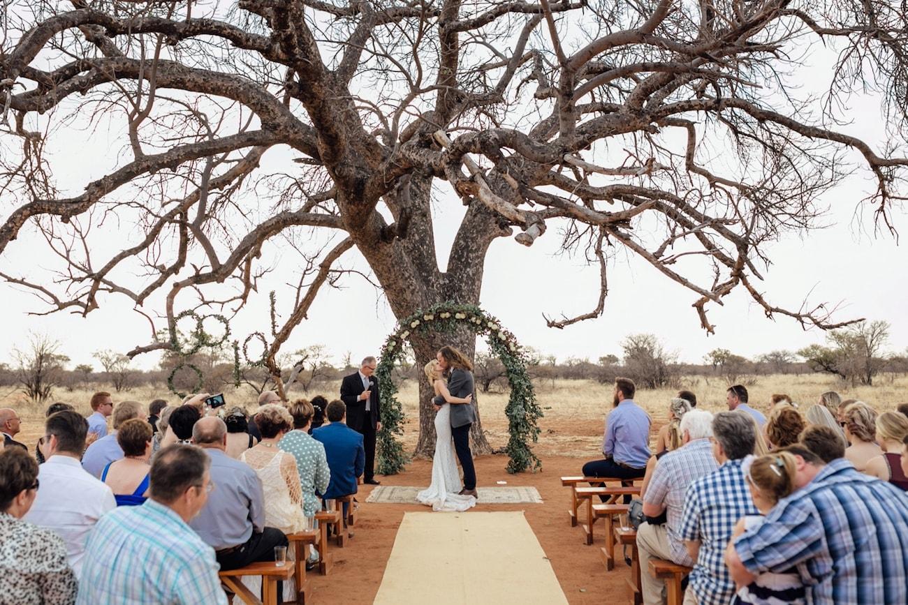 Wedding Ceremony Under Tree | Credit: Page & Holmes