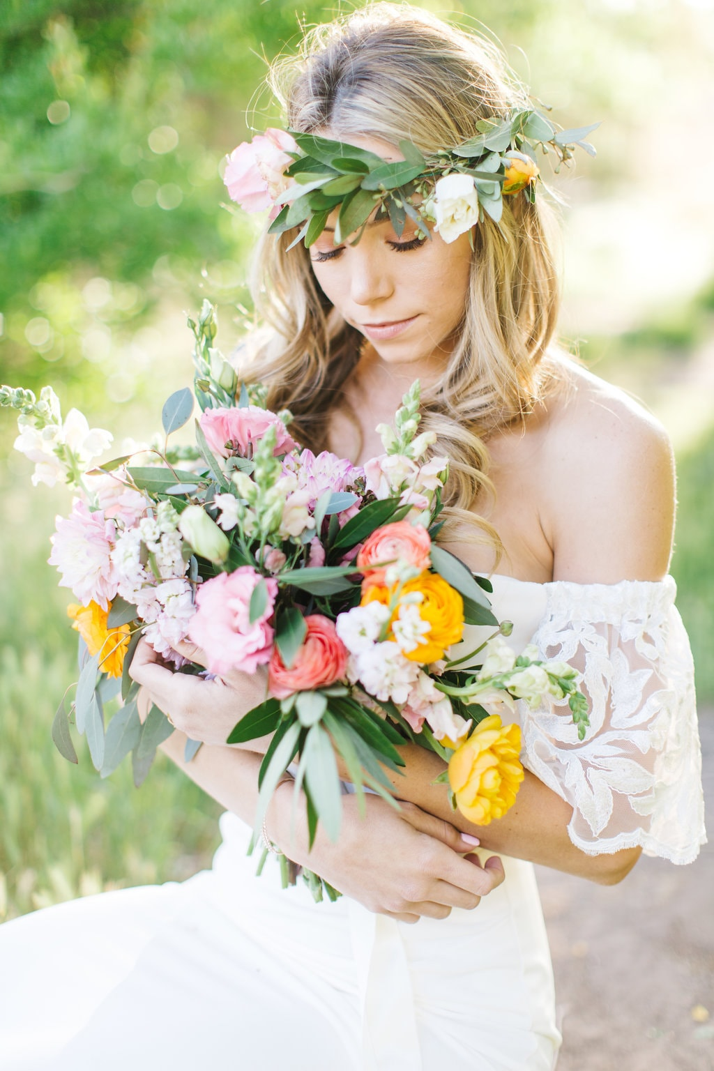 Boho Bride in Floral Crown | Credit: Julia Stockton Photography
