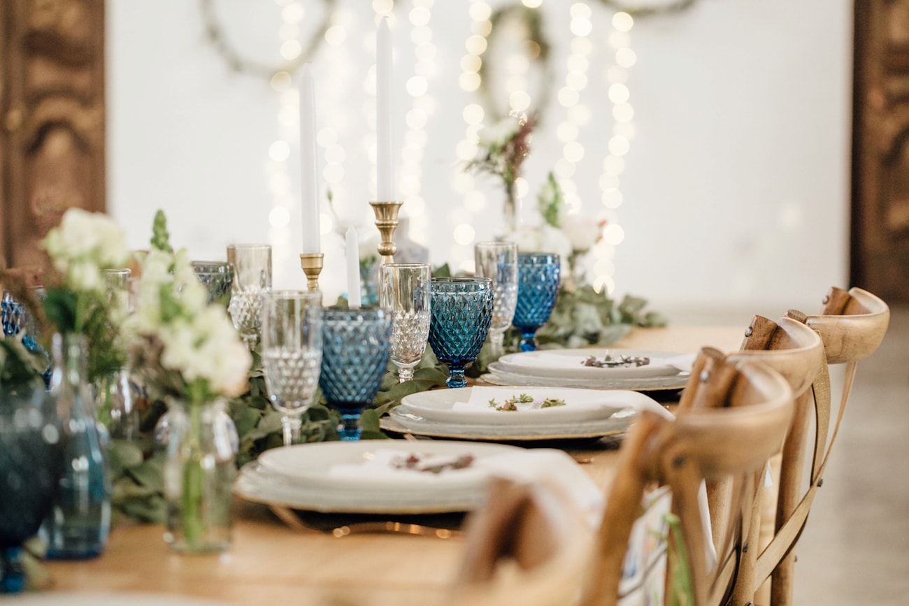Colored Glassware Wedding Table | Credit: Page & Holmes