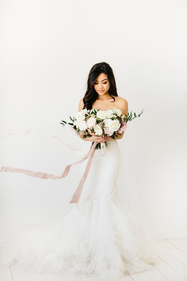 White Lace Mermaid Wedding Dress | Credit: Peaches With Honey