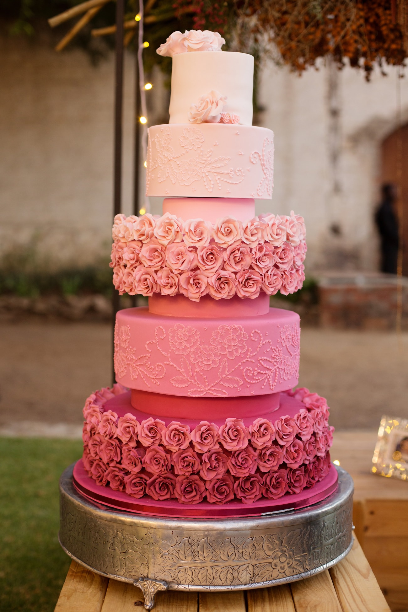 Pink Ombre Wedding Cake | Credit: Vivid Blue