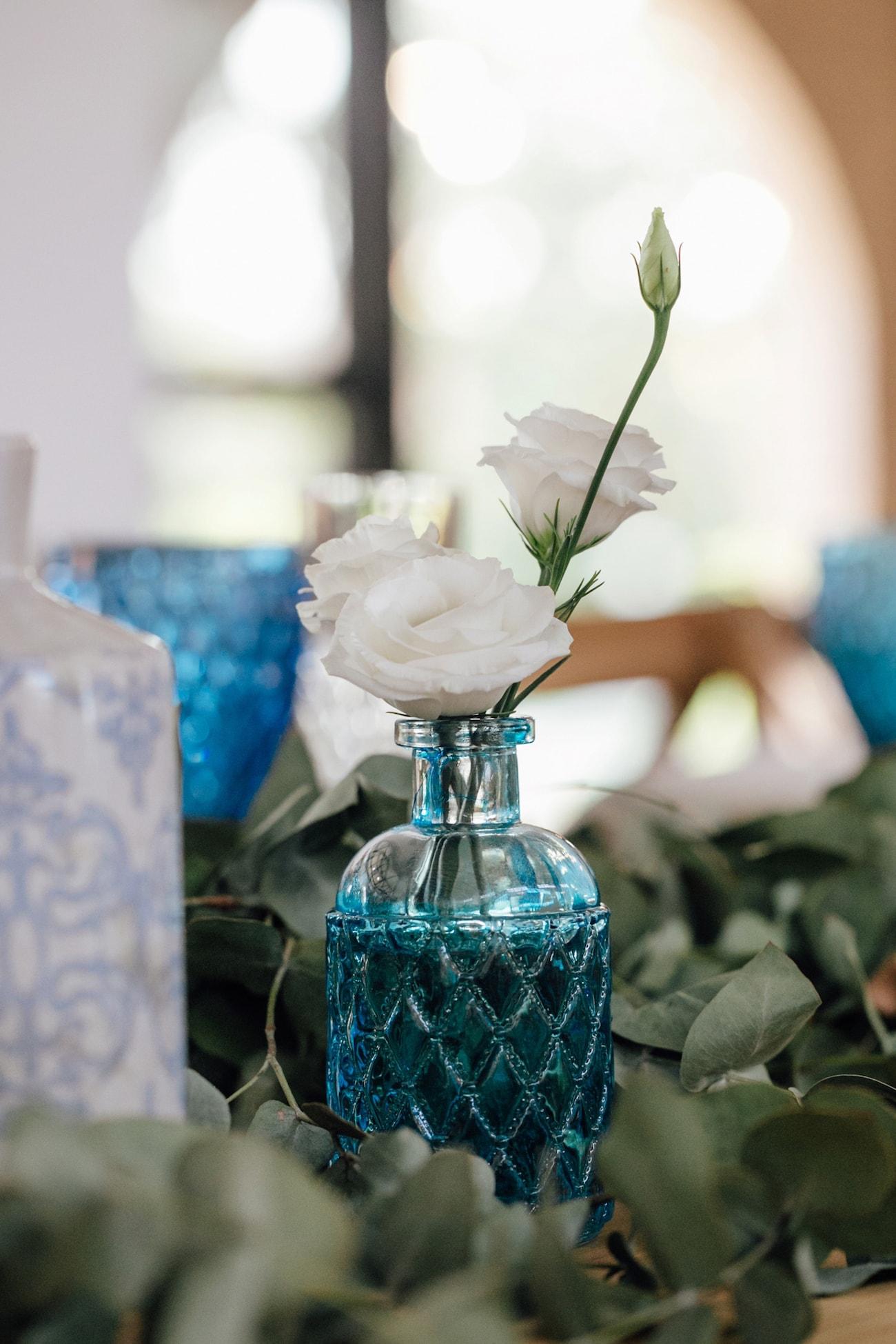 Blue Glass Bud Vase | Credit: Page & Holmes