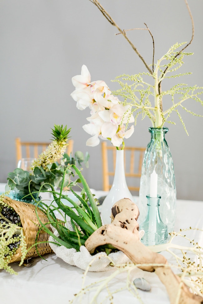 Fine Art Beach Wedding Centerpiece | Credit: Grace Studios / Absolute Perfection