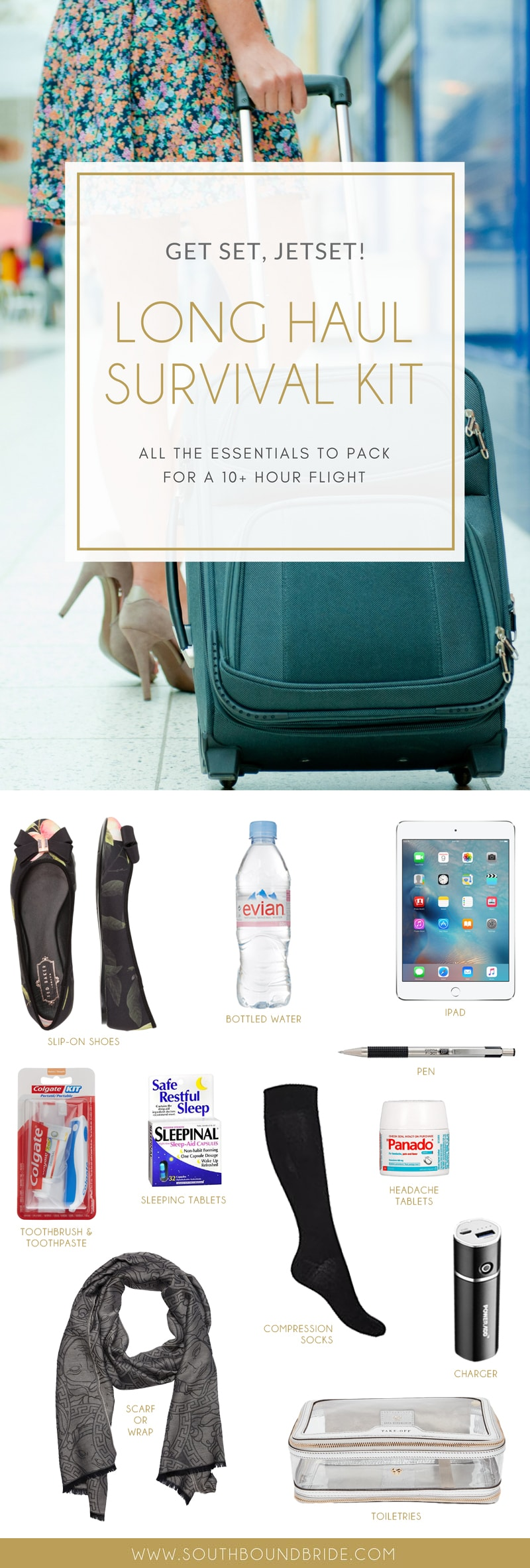 Long Haul Flight Essentials | SouthBound Bride
